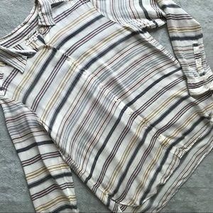 Xirena Shelby Button Shirt Raffia Stripe Sz S